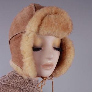 Vintage Aviator Trapper Hat Ear Flaps Shearling